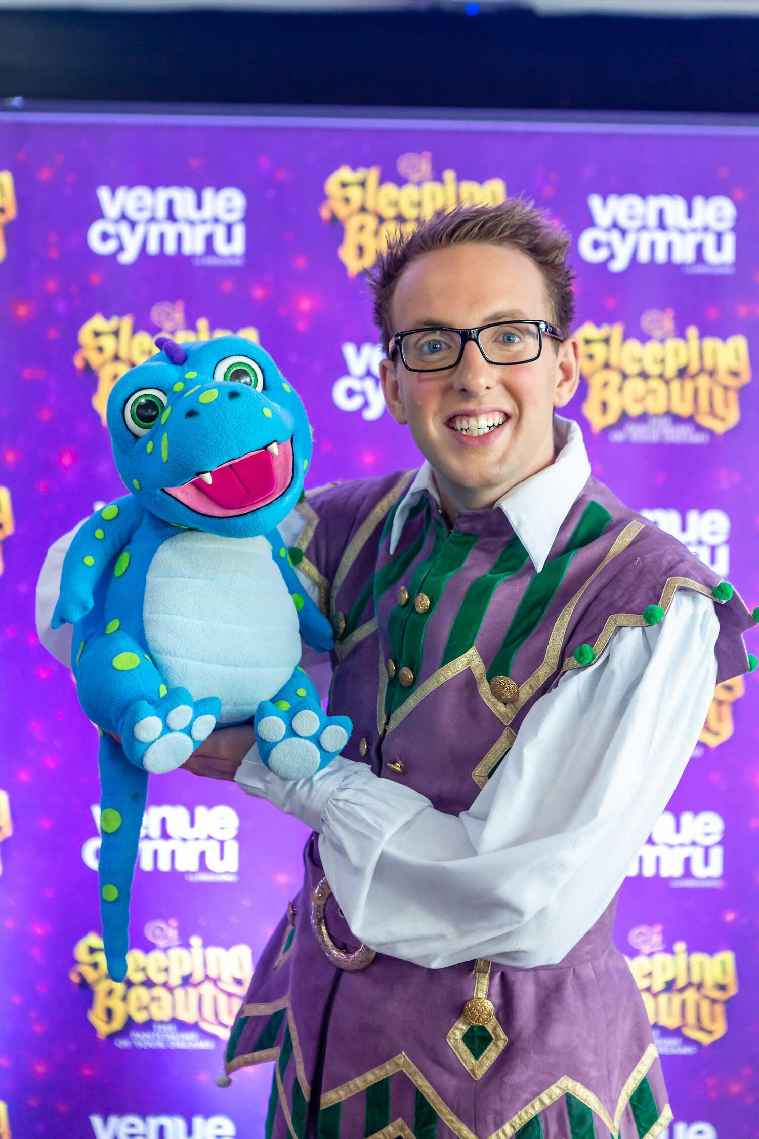 image of Keiran Powell and Dave the Dinosaur