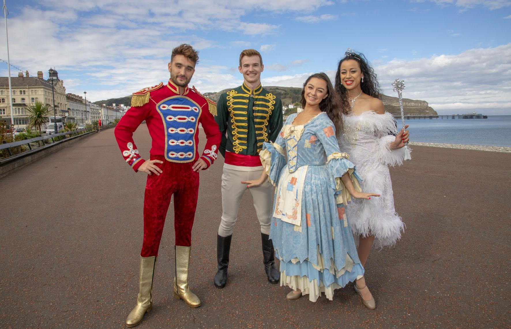 image of Tom Parker (Prince Charming, Chris Bewsher (Dandini), Natalie Winsor (Fairy Godmother) and Carly Burns (Cinderella)
