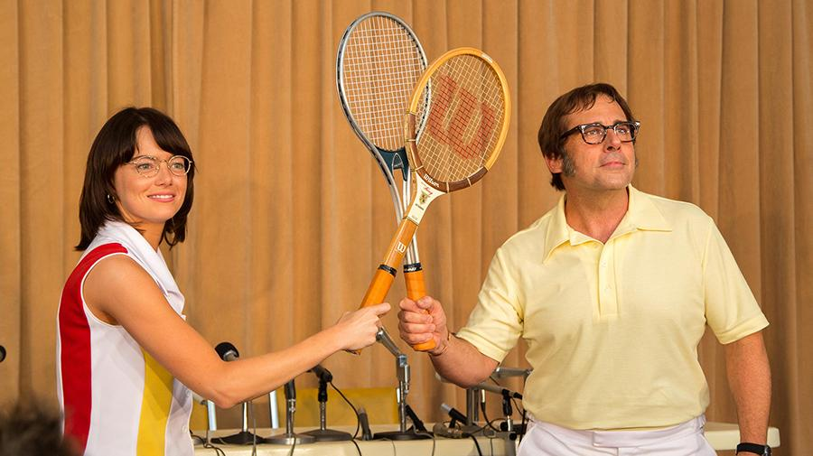 Image of Emma Stone as Billie Jean King and Steve Carrell as Bobby Riggs