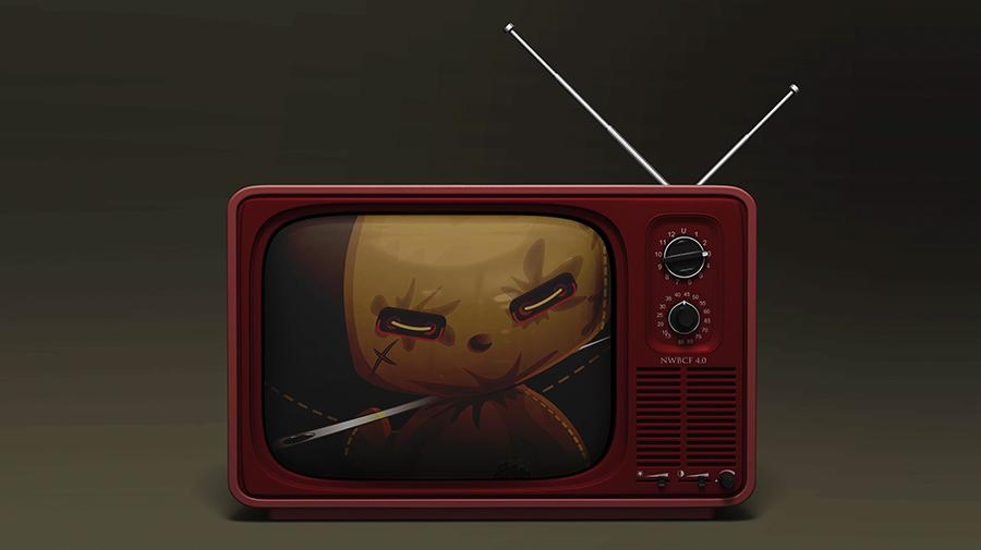 Image of a voodoo doll on a tv