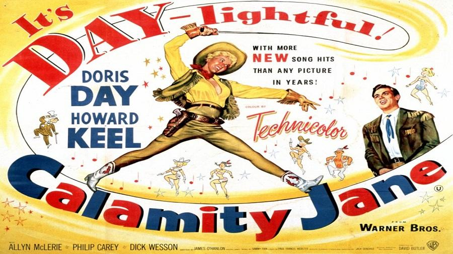 a poster of Calamity Jane  with drawn illustrations of Calamity Jane cracking a whip