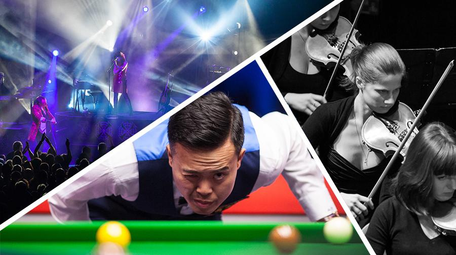 3 images of snooker player, simple minds concert and orchestra