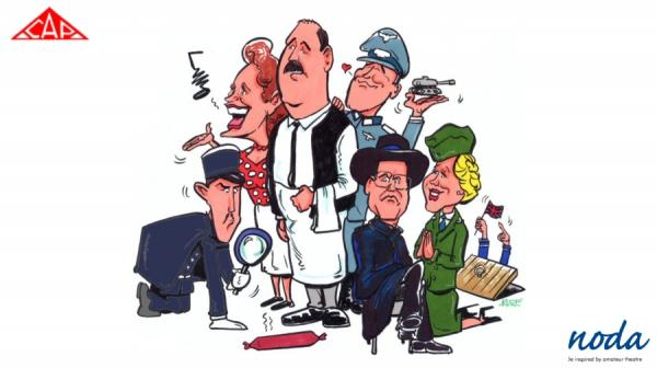 hand drawn image of the allo allo characters