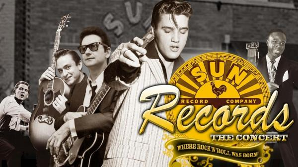Image of Elvis, Jerry Lee Lewis, Johnny Cash, Roy Orbison, Carl Perkins and Rufus Thomas