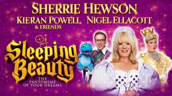 Panto cast featureing Sherrie Hewson and Nigel Ellacott in costume