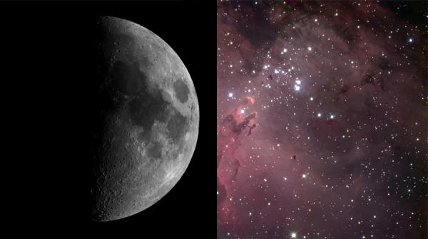 image of moon and star system