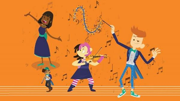 illustrated image of children playing musical instruments