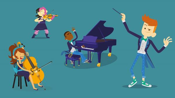 Cartoon image of musicians and conductor