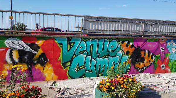image of Venue Cymru's terrace graffiti artwork