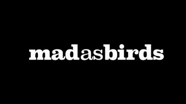 Mad As Birds logo - black background and white writing