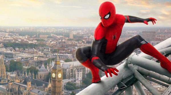 image of spiderman on a building overlooking London