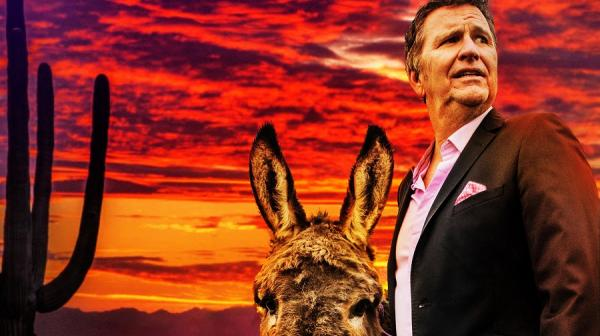image of Stewart Francis and a donkey