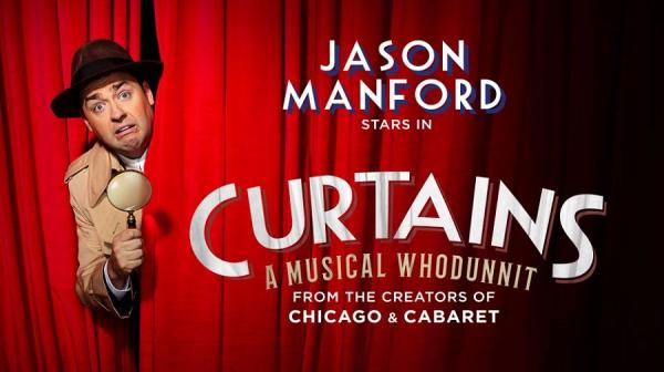 image of Jason Manford dressed as a detective peeking round a curtain